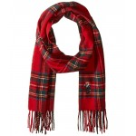 Bear Embroidered Plaids Scarf