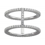 Precious Metal-Plated Sterling Silver Pave Ring Jacket