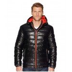 Faux Leather Faux Down Jacket Black/Orange