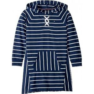 Hooded Lace-Up Sweatshirt Dress (Big Kids) Flag Blue