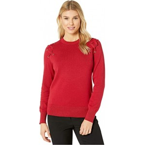 X- Detail Long Sleeve Crew Sweater Red Currant