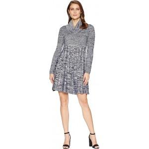 Marled Cowl Neck Fit & Flare Sweater Dress CD8W2PU5 Black/White