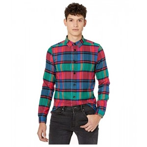 Tailored Fit Printed Denim Button-Down Shirt