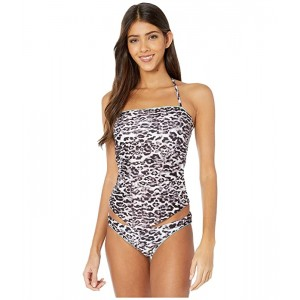 BECCA by Rebecca Virtue Animal Kingdom Addison Handkerchief Tankini Top Leopard