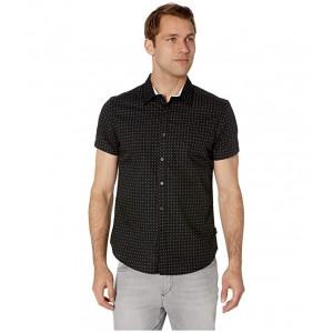 Short Sleeve Diamond Print Shirt Black
