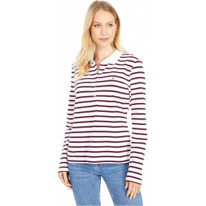 Tommy Hilfiger Long Sleeve Five-Button Polo Bright White/Sky Captain
