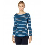Long Sleeve Boat Neck Cotton Modal Clean Striped Tee