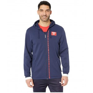 Rebel Block Full Zip Hoodie Fleece Peacoat