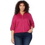 LAUREN Ralph Lauren Plus Size Linen Shirt Bright Fuchsia