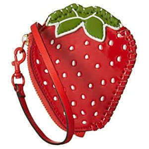 Strawberry Coin Pouch Key Fob Poppy Orange/Leaf Green