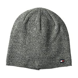 Fine Gauge Marled Fleece Lined Hat Charcoal