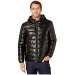Faux Leather Faux Down Jacket Black/Olive Camo