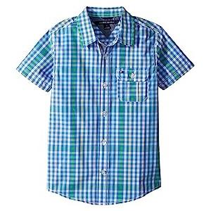 Short Sleeve Chris Yarn-Dye Plaid Shirt (Toddler/Little Kids) Regatta Blue