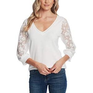 Long Sleeve V-Neck Sweater with Floral Lace Sleeve Soft Ecru