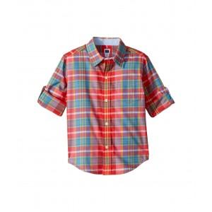 Roll Sleeve Button-Up Shirt (Toddler/Little Kids/Big Kids) Pink Madras