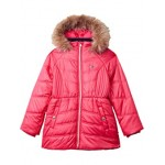 Tommy Hilfiger Kids Chevron Puffer Jacket with Faux Fur Hood (Big Kids) Raspberry Sorbet