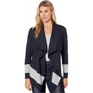 Stretch Cotton Modal Long Sleeve Open Cardigan Lauren Navy/Pearl Grey Heather
