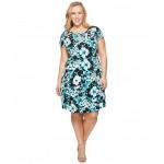Plus Size Springtime Floral Dress Tile Blue/Black Multi