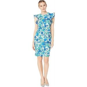 Floral Print Ruffle Arm Sheath Dress Atlantis Multi
