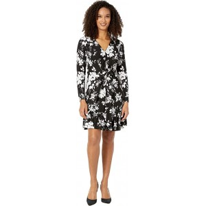 Tropical Bib Long Sleeve Dress