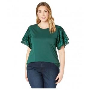 Plus Size Velvet Flutter Sleeve Tee Dark Emerald