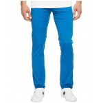 Cotton Twill Stretch Five-Pocket Slim Fit Trousers Sapphire Blue Dyed
