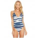Native Ikat Stripe Laced Back and Side Mio One-Piece Indigo