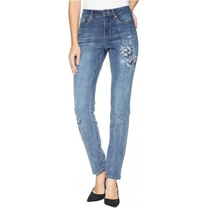 Five-Pocket Boyfriend Jeans with Embroidery Detail in Vintage Blue Vintage Blue