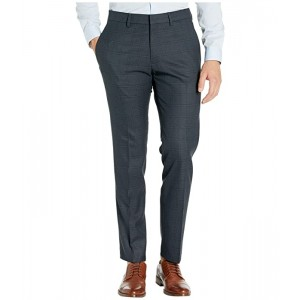 Stretch Windowpane Slim Flat Front Dress Pants