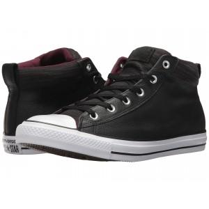 Chuck Taylor All Star High Street Leather w/ Fleece Mid Black/Dark Sangria/White