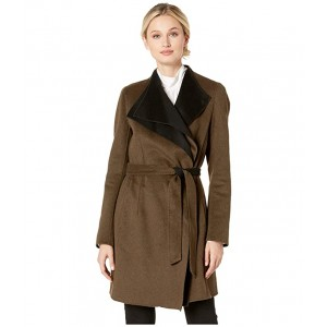 Fashion Double Faced Wool with Spread Collar Detail and Belt Loden/Black