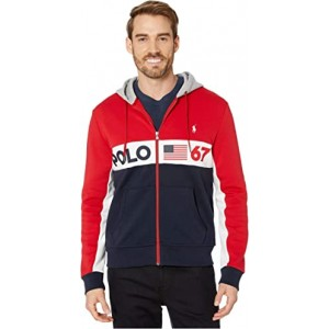 Color Block Americana Double Knit Tech Hoodie RL 2000 Red Multi