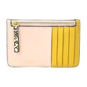 Color Block Top Zip Card Case Ivory Wild Pansy
