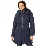 35 Diamond Quilt Puffer w/ Hood and Belt Navy