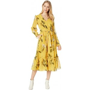 Elissea Savanna Day Dress with Neck Tie Yellow