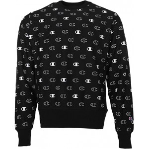Champion Reverse Weave Crew - Tossed C Logos All Over Print C Logo Spaced Black