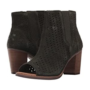 Majorca Peep Toe Bootie Forest Suede Perforated Leaf