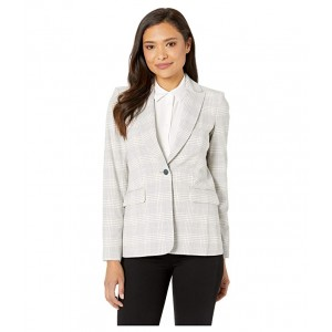 Plaid One-Button Jacket Rose Multi