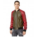 DSQUARED2 Raglan Sleeve Leather Track Jacket Red/Green