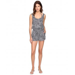 Mixed Animal and Elastic All-In-One Romper Cover-Up Midnight Blue Leopard/Giraffe Print