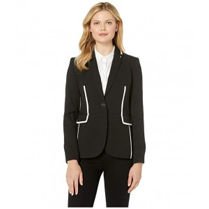 Textured One-Button Contrast Jacket Black/Ivory