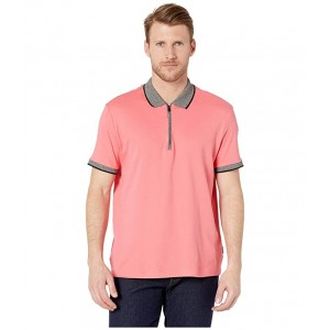 Short Sleeve Marbled Collar Interlock Zip Polo Coral