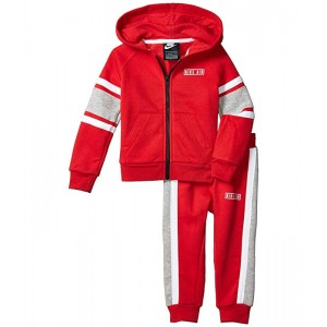 Nike Kids Sueded Fleece Full Zip Hoodie and Jogger Pants Two-Piece Set (Toddler) University Red