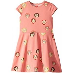 Monkeys All Over Print Short Sleeve Dress (Infant/Toddler/Little Kids/Big Kids)