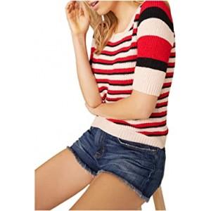 We Found Love Mixed Tape Yarn Stripe Short Sleeve Sweater Raspberry