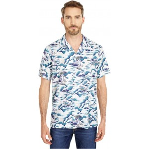 Lacoste Southern France Print Cotton Hawaiian Fit Shirt Willo/Lata/White