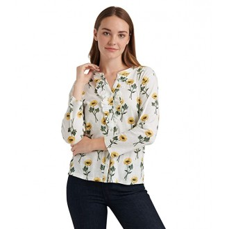 Lucky Brand Long Sleeve Button-Up Floral Ruffle Henley Top Yellow Multi