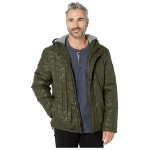 Light Oxford Poly 28 Zip Front Jacket with Attached Hood