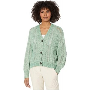 Athena Marled Yarn Cable Knit Cardigan Shamrock