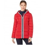 26.5 Hooded Puffer w/ Contrast Zip Crimson